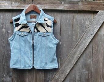 Denim vest / faux fur vest / zebra vest