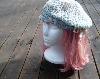 20s vintage flapper hat /  antique crochet berret / vintage blue beanie hat