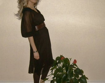 40's vintage sheer dress -  black -  chocolate -  by Freestyle Collection