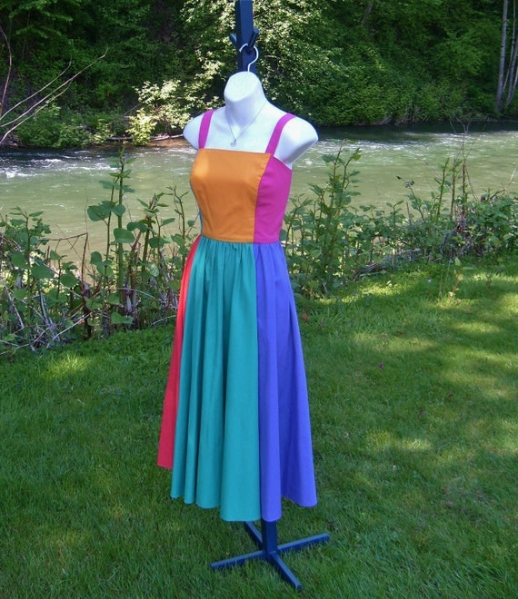 80's color block dress -  50's style -  by Freestyle Collection