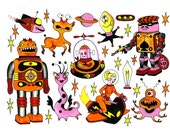 Flash Sheet Number 4 Alien and Robot Tattoos
