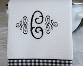 Monogrammed Kitchen Towel, Monogrammed Dish Towel, Black and White Gingham Monogrammed Towel by Crystal's Creations on Etsy