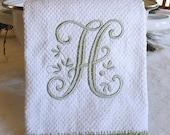 Monogrammed Dish Towel, Monogrammed Kitchen Towel Sage Green