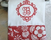 Monogrammed Kitchen Towel, Personalized Dish Towel, Red Floral