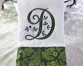 Monogrammed Kitchen Towel, Green Floral Monogrammed Towel