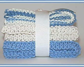 Hand Knit Dishcloth, Hand Knitted Dish Cloth, Hand Knit Washcloth, Hand Knitted Wash cloth - Denim Blue