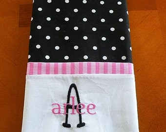 Black with White Dots Personalized Pillowcase