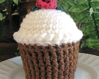 Cupcake Pincushion, Crocheted Cupcake, Chocolate  Butter Cream Frosting Cupcake