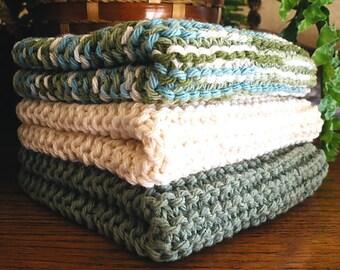 Hand Knitted Dishcloths, Cotton Washcloths, Dish Cloths, Wash Cloths, Handmade towels, Dish Rags,  - Sea Blends