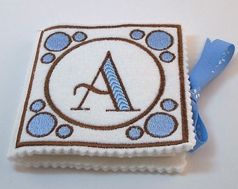Monogrammed Needle Book,  Blue and Brown Needle Book