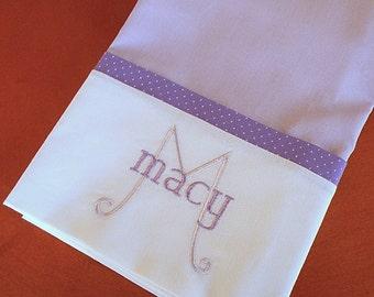 Monogrammed Personalized Pillowcase, Purple Pillowcase