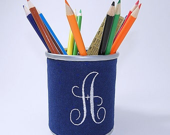 Monogrammed Corset Pencil Cup - Navy Blue