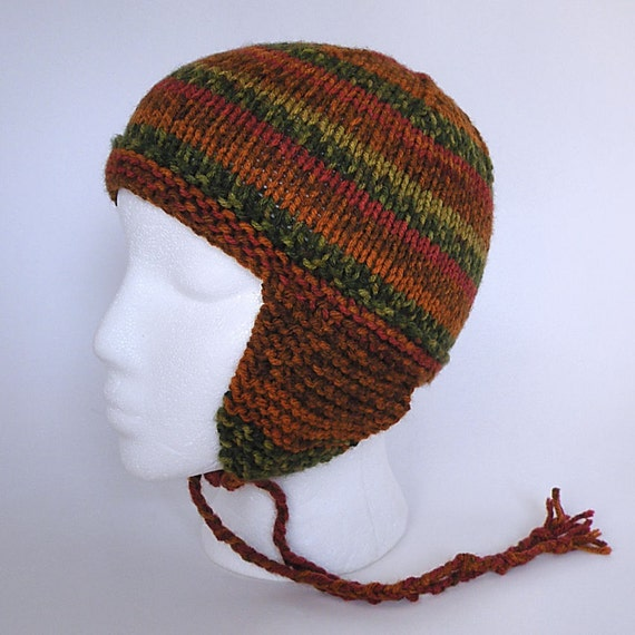Hand knit Earflap Hat,  Autumn Stripes