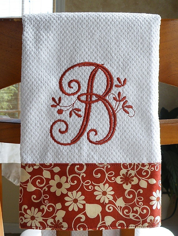 Monogrammed Kitchen Towel Brick Red Floral By Crystalcreates2001