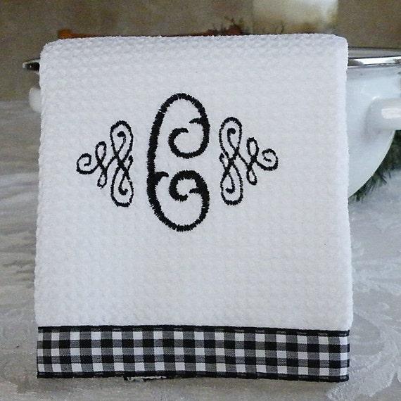 Monogrammed Kitchen Towel Monogrammed Dish Towel Black And