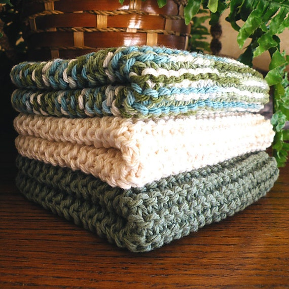 Hand Knitted Dishcloths, Cotton Washcloths, Dish Cloths, Wash Cloths, Handmade towels, Dish Rags,  - Sea Blends