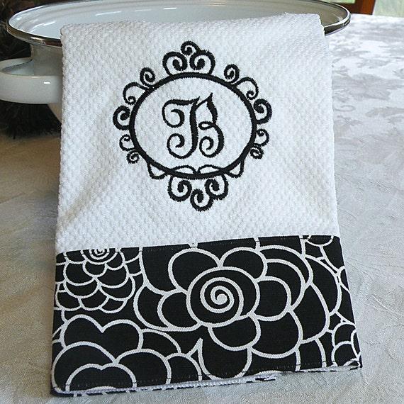 Monogrammed Kitchen Towel, Personalized Dish Towel, Black Floral