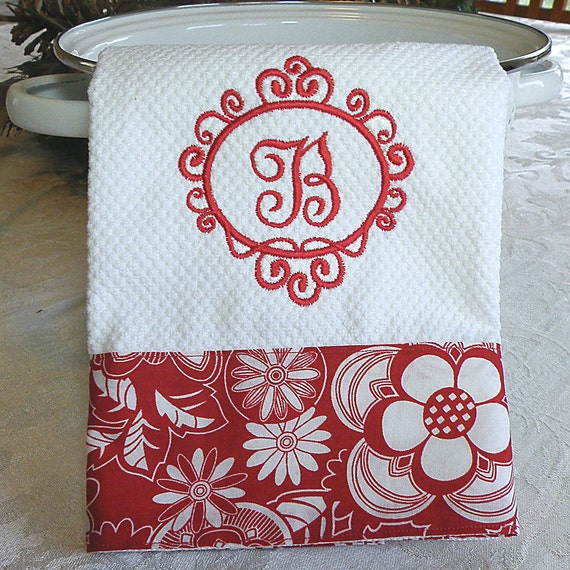 Monogrammed Kitchen Towel Personalized Dish Towel Red Floral