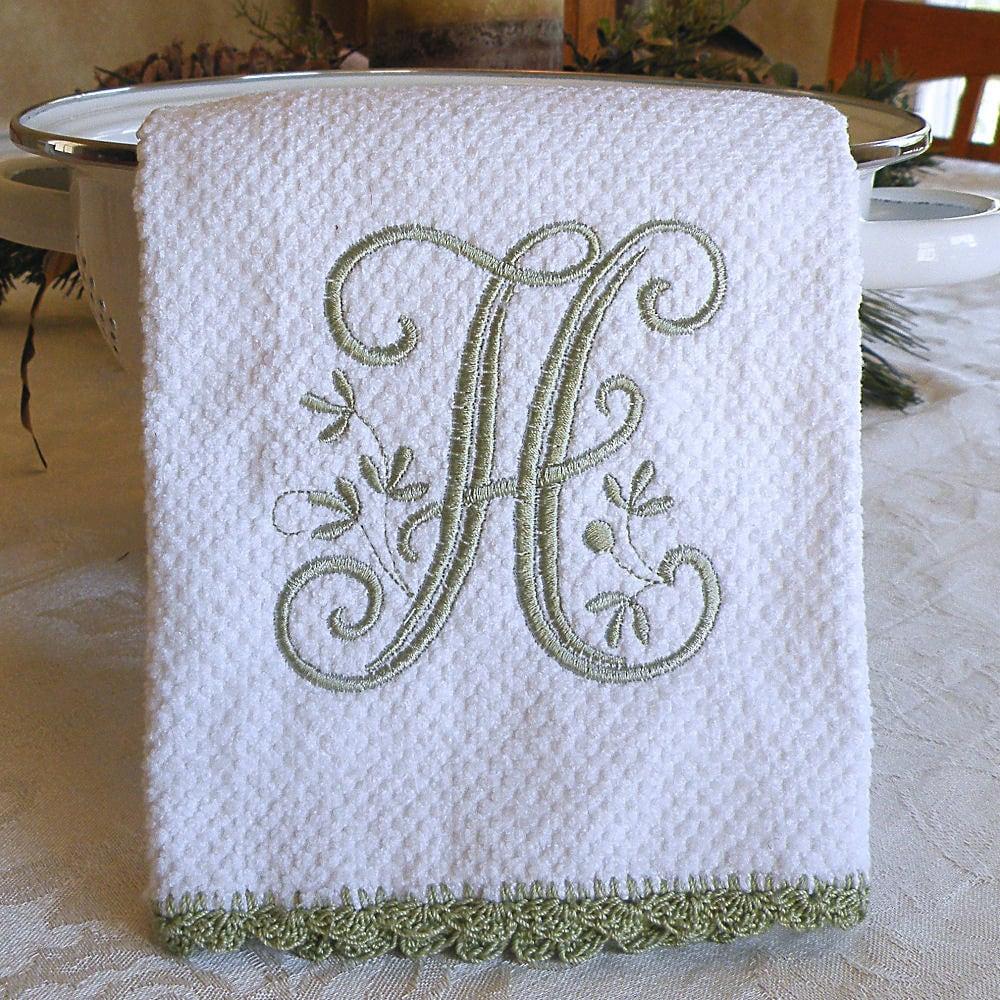 Monogrammed Dish Towel Monogrammed Kitchen Towel Sage Green