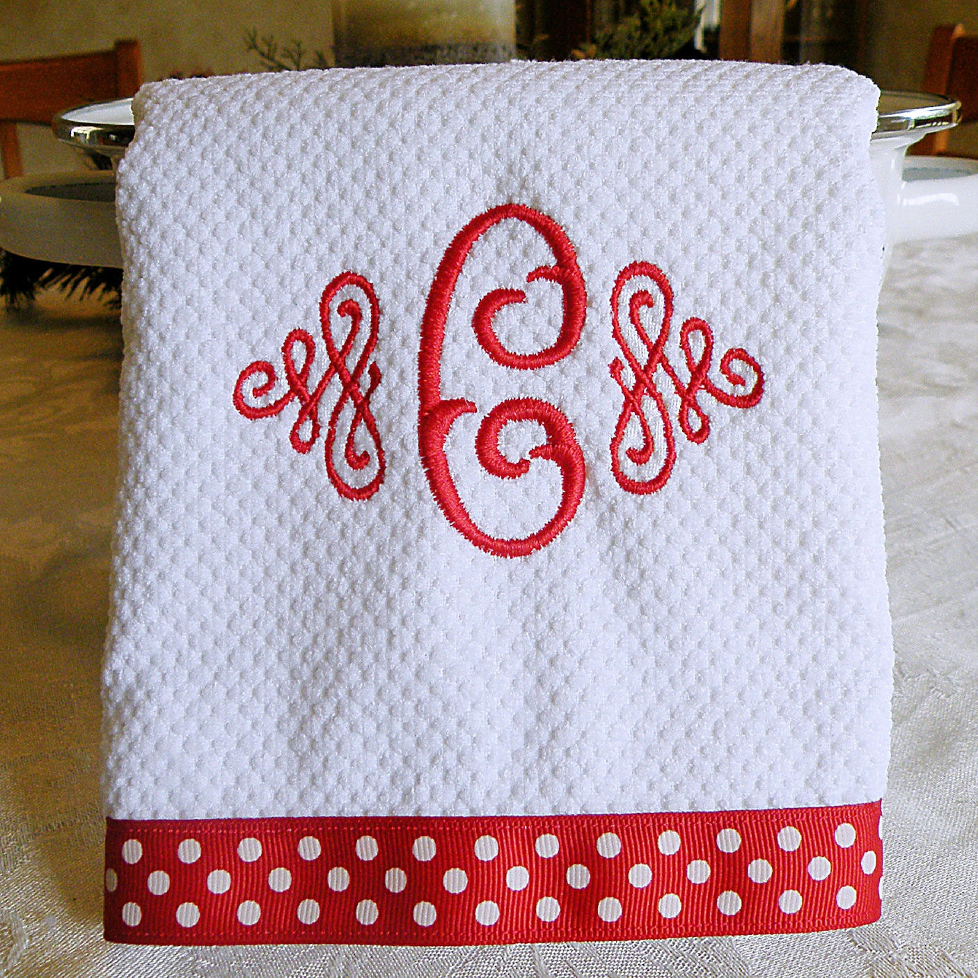 Monogrammed Kitchen Towel Dish Towel Red With White Dots