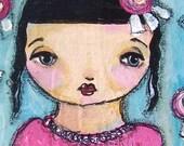 painting original acrylic on wood pretty fushia pink flower girl sweet