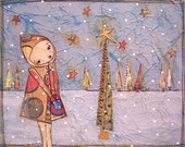 original painting whimiscal winter holiday christmas tree snow girl hooded coat