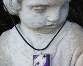 original art solder glass pendant modern pop art purple hair goth