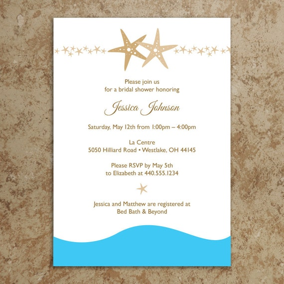 Beach Bridal Shower Invitation / Starfish Bridal Shower Invitation ...