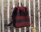 large backpack felted wool purse cocoa black rugby stripes