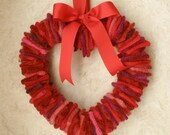 felted wool heart wreath recycled red pink