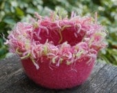 squiggle felted wool bowl fizzy fuzzy pink