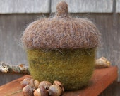 felted wool bowl fall decor covered acorn