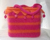 jester felted wool purse pink orange stripes beads