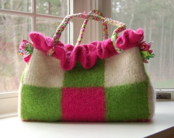 Ruffled felted wool tote purse custom made checkerboard