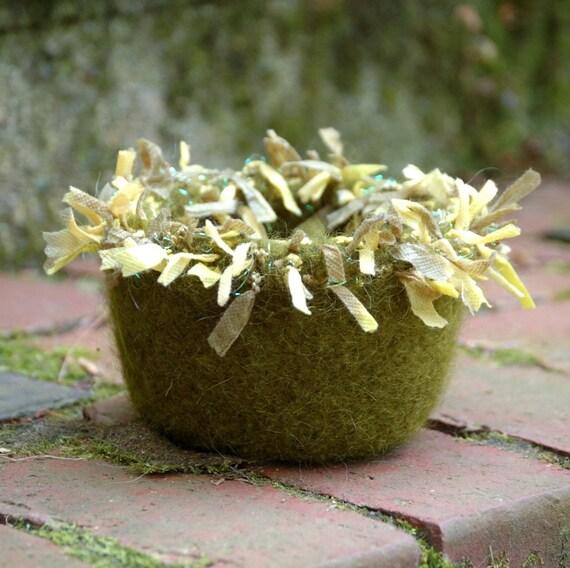 woodland fairy felted wool bowl olive green sage oregano rosemary