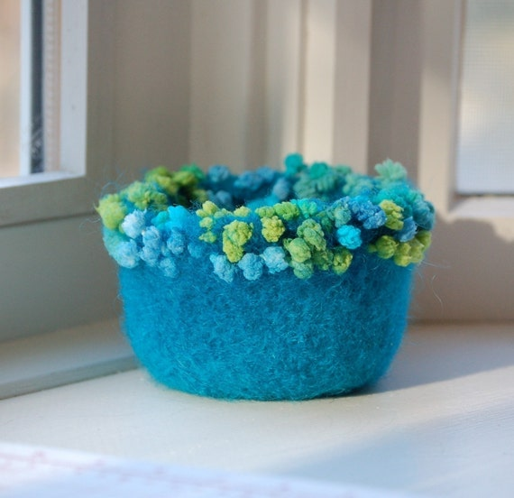 mermaid bubbles felted wool bowl