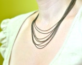 Draped Layered Chain necklace - Antique Brass
