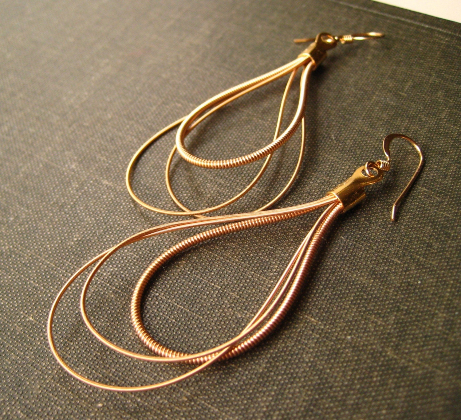 small guitar string earrings gold brass recycled dew drop