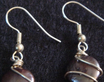 Faye-Black Coin Pearl Wrapped in Silver Plated wire