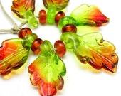 Handmade Lampwork Glass Leaf Beads - Autumn Leaves (12)