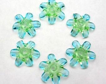 Handmade Lampwork Glass Beads - Fairy Blossoms disk flower beads - Escape