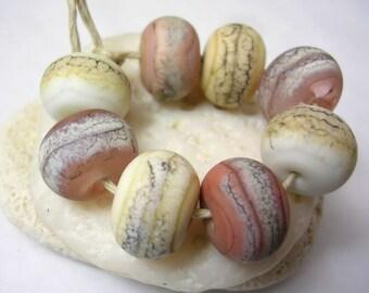 Handmade Lampwork Glass Beads - Organic Rounds - Shell Beach