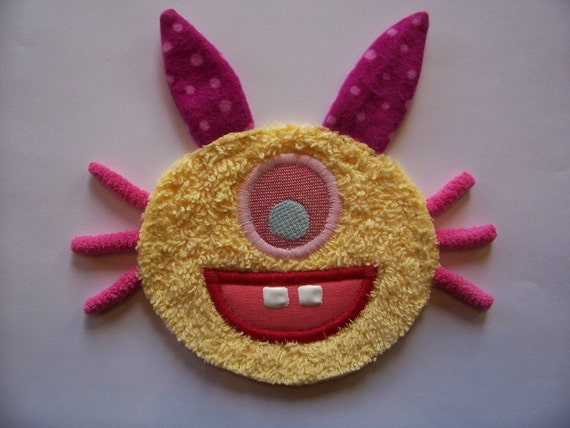 Pink Polka Dot Ear Yellow Bunny Foo Foo Patch