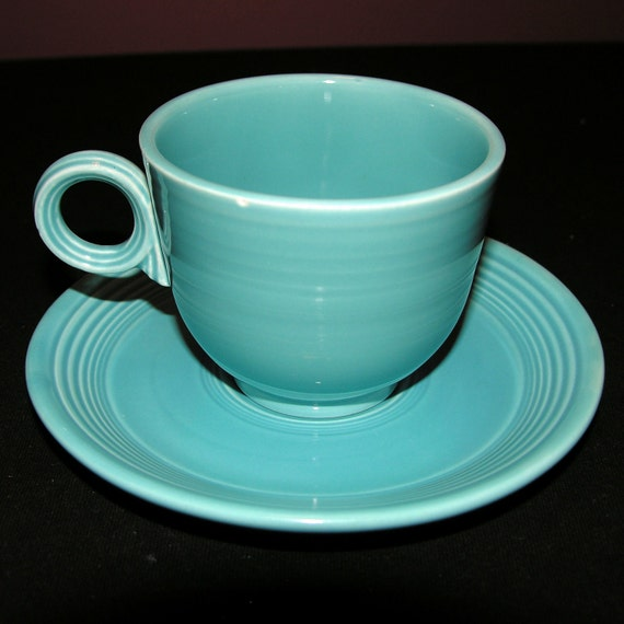 Turquoise Fiestaware teacup and saucer