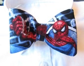 Clip on Bow tie for Child/Toddler made of Spiderman Comic Fabric