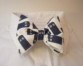 Bow tie made with Tardis fabric