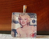 Handmade Glass Tile Pendant, MARILYN MONROE IN Pastel, No. 699 by Jenifersfamilyjewels on Etsy