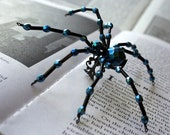 Beaded Spider Ring, Gothic  Metallic Blue  and Black Beaded by Jenifersfamilyjewels on Etsy