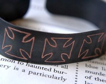 Men's Personalized Copper Bracelet, Iron Cross, Hand Engraved by SmashGardens on Etsy - Custom Jewelry, Personalized Men's Bracelets, Copper