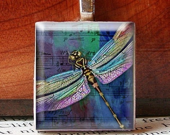 Scrabble Tile Pendant, DRAGONFLY ON WATERCOLOR Sheet Music, No. 547 by Smash Gardens on Etsy, Bridesmaids Gifts, Stocking Stuffers
